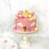 Торт №829 - Розовый с фигуркой зайки Торт №829 - Розовый с фигуркой зайки