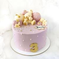 Торт №832 - Розовый с фигуркой мишки и звёздочкой