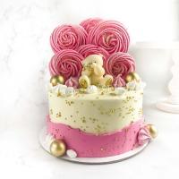 Торт №837 - Бело-розовый с мишкой и меренгами
