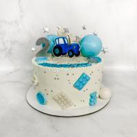 Торт №849 - Синий трактор с шариками